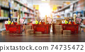 Growth of food sales or growth of market basket or consumer price index concept. Shopping basket with foods with coin stacks in grocery shop. 74735472