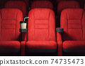 Cinema movie theater concept background. Red cinema seats and coffee or cola paper cup in empty theater. 74735473