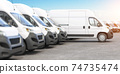 Delivery vans in a row with space for logo or text. Express delivery and shipment service concept. 74735474
