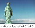 American depression, USA democracy problems concept. Sad and depressed Statue of Liberty with with a lowered torch. 74735477
