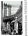 Saxophonist near Manhattan Bridge in brooklyn 74735557