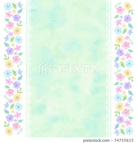 水彩風格手寫花卉背景綠色 74735615