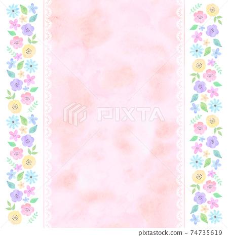 水彩風格手寫花卉背景粉紅色 74735619