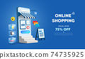Online shopping store on website and mobile phone design. Smart business marketing concept. Horizontal view. Vector Illustration 74735925