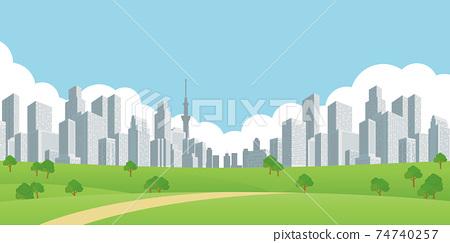 建築城市景觀公園背景素材 74740257