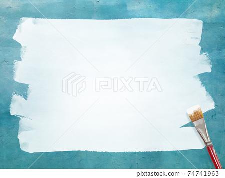 파란색 벽에 흰색 페인트로 그린 프레임 - 여러 종류가 있습니다 74741963