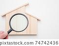 房屋和放大鏡的地震診斷圖像我的房屋房屋的地震診斷建築缺陷調查圖像複製空間 74742436