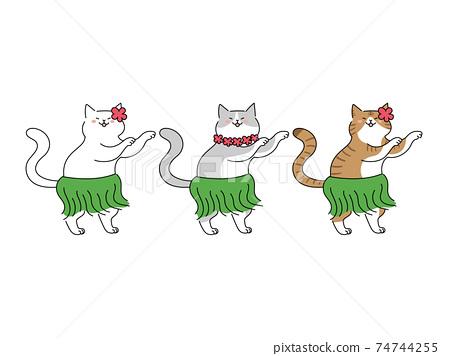 三隻貓跳舞草裙舞 74744255
