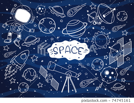 Set of space element doodle isolated on galaxy background 74745161