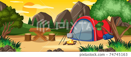 Camping in nature park scene 74745163