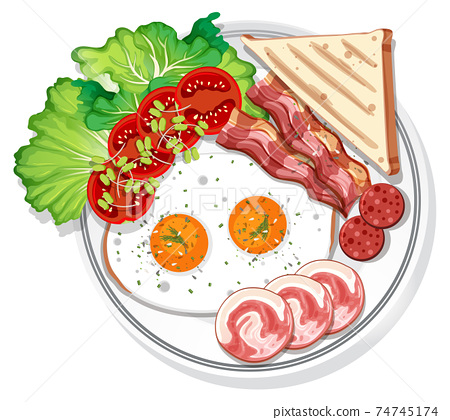 Top view of breakfast set on a dish isolated 74745174