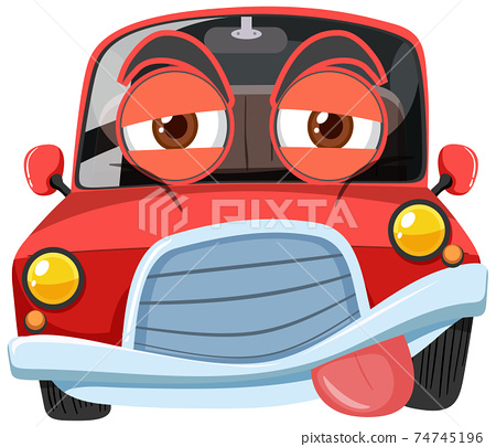 Red vintage car cartoon character with exhausted face expression on white background 74745196