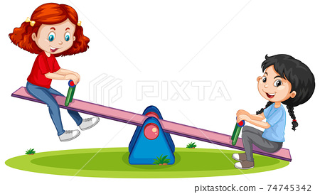 Cartoon character girls playing seesaw on white background 74745342