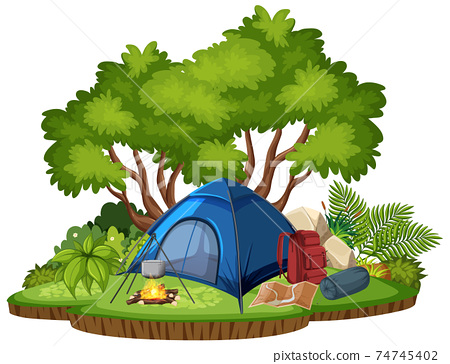 Isolated camping scene on white background 74745402