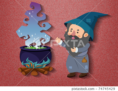 Little wizard cartoon character with potion pot 74745429