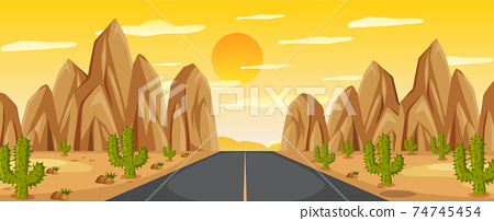 Desert road landscape at sunset 74745454