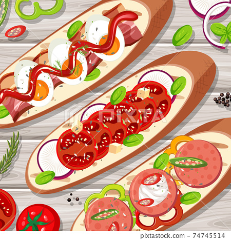 Many bruschetta toast on the table close up view 74745514