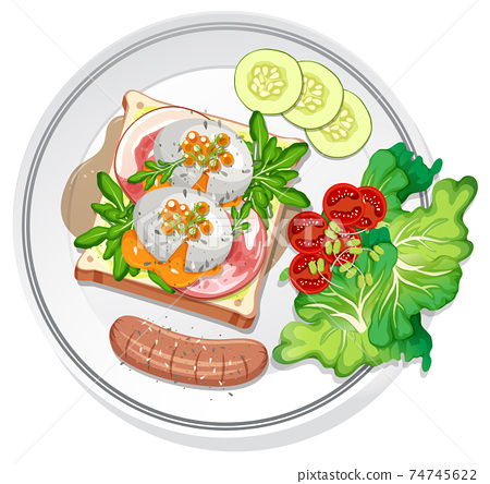 Top view of breakfast dish isolated 74745622