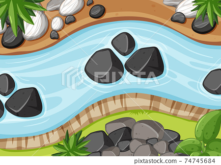 Aerial view of river close up with stone element 74745684