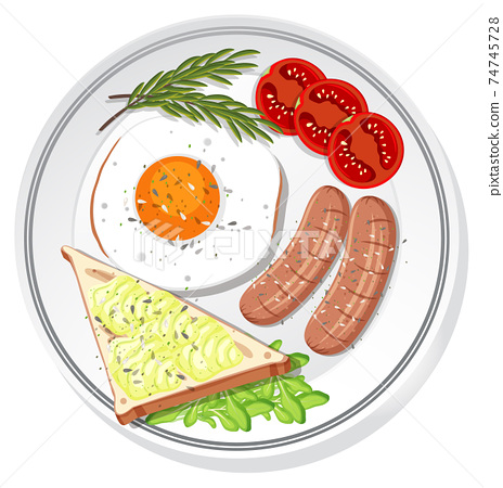 Top view of breakfast set on a dish isolated 74745728