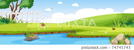 River scene in the park with green meadow horizontal scene 74745743