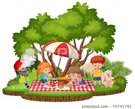 Kids picnic in the park isolated 74745791