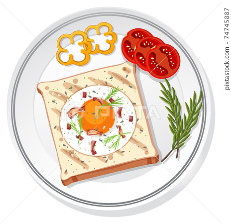 Top view of breakfast set on a dish isolated 74745887