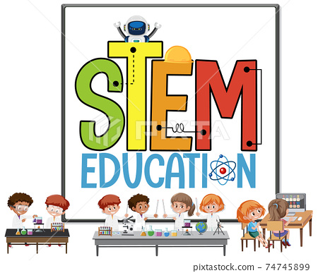 Stem education logo with kids wearing scientist costume isolated 74745899