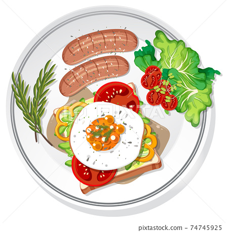 Breakfast set on the dish isolated 74745925