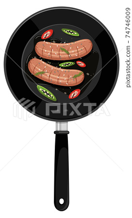 Breakfast in the pan isolated 74746009