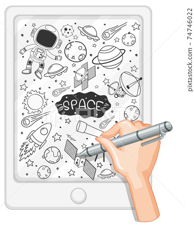 Hand drawing space element in doodle or sketch style on tablet 74746022