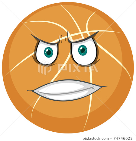 Basketball with face expression on white background 74746025