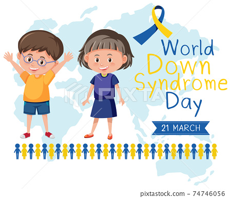 World Down Syndrome on 21 March with two kids and yellow - blue ribbon sign 74746056