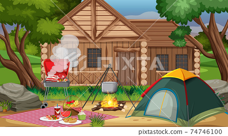 Camping or picnic in the nature park at daytime scene 74746100