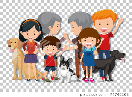 Old couple and grandchild with their pet dogs isolated on transparent background 74746108