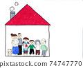 可愛的手繪兩戶住宅,兩戶家庭和寵物,嬰兒和小學生繪製的作品圖像,複製空間 74747770
