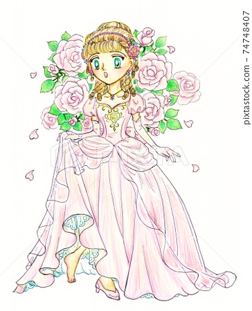 Cinderella fairy tale princess and rose hand-painted 74748407