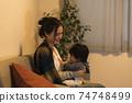 年輕的母親和她的11個月大兒子一起放鬆 74748499