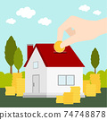 saving money for real estate investment with money box 74748878