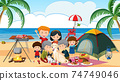 Picnic scene with happy family at the beach 74749046
