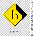 Yellow traffic warning sign on transparent background 74749047