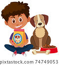 Boy holding dog food with cute dog on white background 74749053
