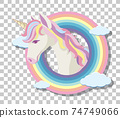 Unicorn head with rainbow mane on rainbow round background isolated on transparent background 74749066