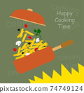 cooking pasta with vegetables and pot 74749124