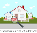 magnifying glass with house ,concept for sale,real estate  74749129
