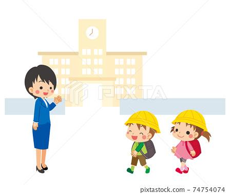 可愛的風景白色背景上學的小學學生和老師在學校的插圖 74754074