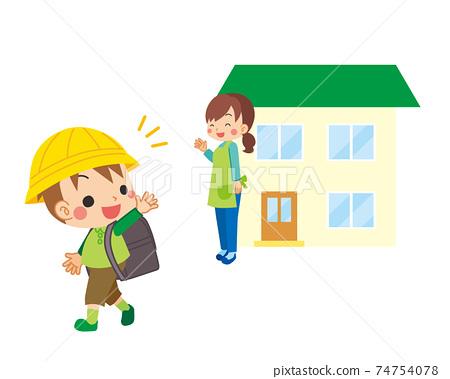 一位母親對一個小學男孩打招呼,他上學時送他回家,送他回家 74754078