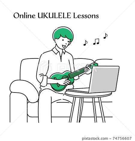 一個人在夏威夷四弦琴上在線課的簡單圖解 74756607