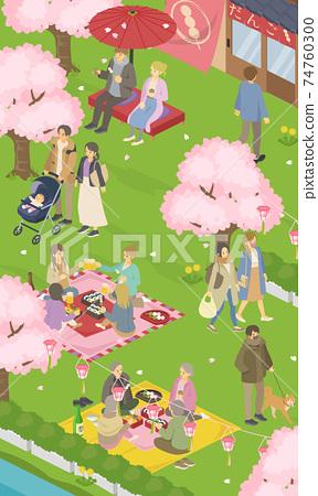 봄의 꽃놀이 날씨 사람들의 생활 풍경 (거리, 거리)의 벡터 일러스트 세로 배너 (사시) 74760300