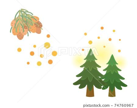 雪松花粉花粉飛的插圖素材 74760967